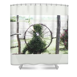 Shower Curtain featuring the photograph Country Ranch Wagon Wheel by Ellen O'Reilly