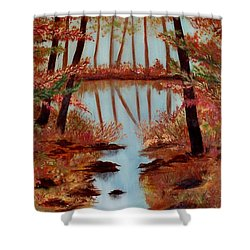 Shower Curtain featuring the painting Country Reflections by Leslie Allen