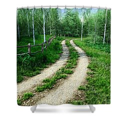 Country Road Shower Curtain by Dave Luebbert