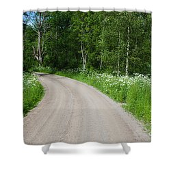 Shower Curtain featuring the photograph Country Road In A Summer Landscape by Kennerth and Birgitta Kullman