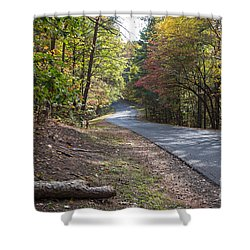 Country Road In Autumn Shower Curtain by Kevin McCarthy
