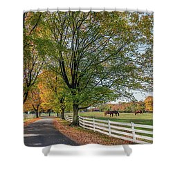 Country Road In Rural Maryland During Autumn Shower Curtain