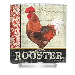 Country Rooster 2 Shower Curtain by Debbie DeWitt