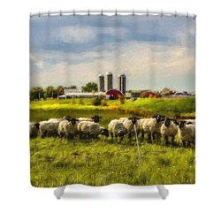Country Sheep Shower Curtain by Ken Morris