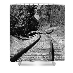 Country Tracks Black And White Shower Curtain by Mark Dodd
