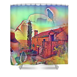 Country Villa Nestled In A Field Of Poppies Shower Curtain