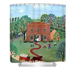 Country Visit Shower Curtain by Linda Mears