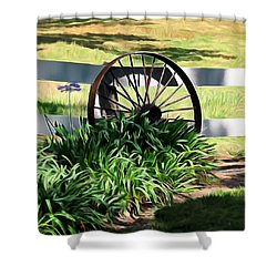 Country Wagon Wheel Shower Curtain