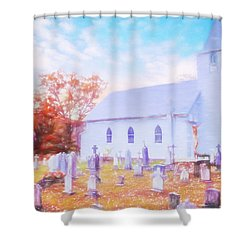 Country White Church And Old Cemetery. Shower Curtain