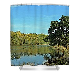 Countryside Netherlands, Lakes, Meadows, Trees, Digital Art. Shower Curtain
