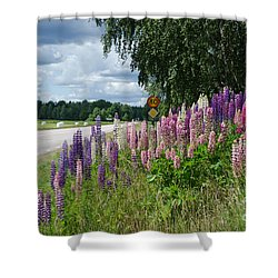 Shower Curtain featuring the photograph Countryside With Lupines by Kennerth and Birgitta Kullman