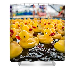 County Fair Rubber Duckies Shower Curtain by Todd Klassy