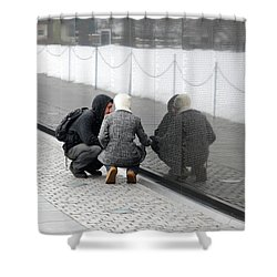 Couple At Vietnam Wall Shower Curtain