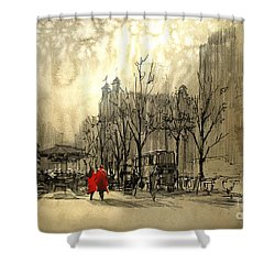 Couple In City Shower Curtain