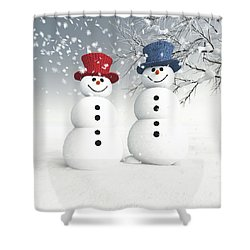 Couple Of Snowmen Shower Curtain