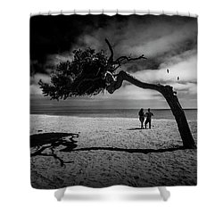 Shower Curtain featuring the photograph Couple On Cabrillo Beach By Los Angeles California by Randall Nyhof