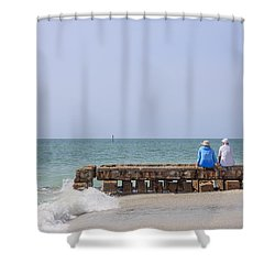 Couple Sitting On An Old Jetty Siesta Key Beach Florida Shower Curtain by Edward Fielding