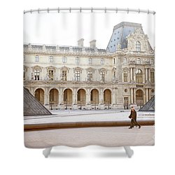 Shower Curtain featuring the photograph Couple Strolling At Louvre Museum  by Ivy Ho