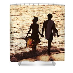 Couple Wading In Ocean Shower Curtain by Larry Dale Gordon - Printscapes
