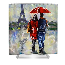 couple walking in the rain Paris Shower Curtain by Tim Gilliland