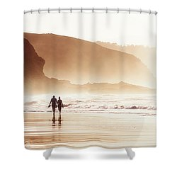 Couple Walking On Beach With Fog Shower Curtain