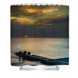 Shower Curtain featuring the photograph Couple Watching Sunset by John Williams