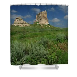Courthouse And Jail Rock In Nebraska Shower Curtain by Garry McMichael