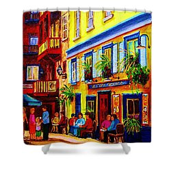 Courtyard Cafes Shower Curtain