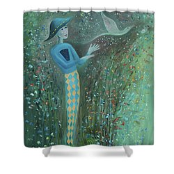 Shower Curtain featuring the painting Cousin Good Shoes Sentinel by Tone Aanderaa