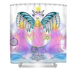 Shower Curtain featuring the digital art Cousins by Barbara Tristan