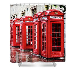 Covent Garden Phone Boxes Shower Curtain