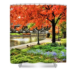 Shower Curtain featuring the painting Covered Bridge Along Riverwalk by Christopher Arndt