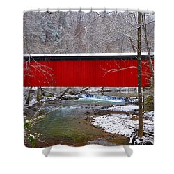 Covered Bridge Along The Wissahickon Creek Shower Curtain by Bill Cannon