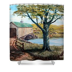 Covered Bridge, Americana, Folk Art Shower Curtain