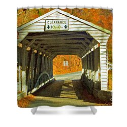 Shower Curtain featuring the photograph Covered Bridge Impasto Oil by David Zanzinger