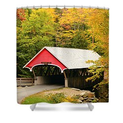 Covered Bridge In Autumn Shower Curtain