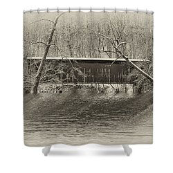 Covered Bridge In Black And White Shower Curtain by Bill Cannon