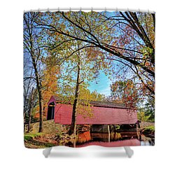 Covered Bridge In Maryland In Autumn Shower Curtain