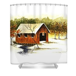 Covered Bridge In The Snow Shower Curtain by Michael Vigliotti