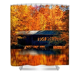 Covered Bridge Shower Curtain by Joann Vitali