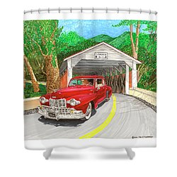 Covered Bridge Lincoln Shower Curtain by Jack Pumphrey