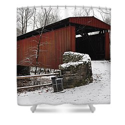Covered Bridge Over The Wissahickon Creek Shower Curtain by Bill Cannon