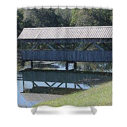 Shower Curtain featuring the photograph Covered Bridge Painting by Debra     Vatalaro
