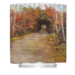 Shower Curtain featuring the painting Covered Bridge  Southern Nh by Jack Skinner