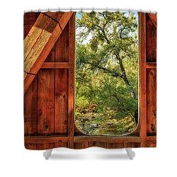 Covered Bridge Window Shower Curtain by James Eddy