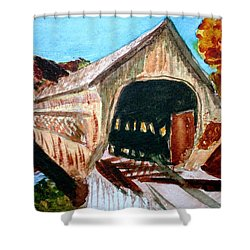 Shower Curtain featuring the painting Covered Bridge Woodstock Vt by Donna Walsh