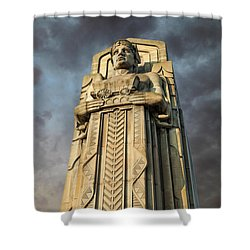 Covered Wagon Guardian On Hope Memorial Bridge Shower Curtain