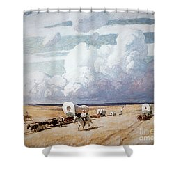 Covered Wagons Heading West Shower Curtain by Newell Convers Wyeth