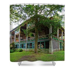 Shower Curtain featuring the photograph Covewood Lodge On Big Moose Lake by David Patterson