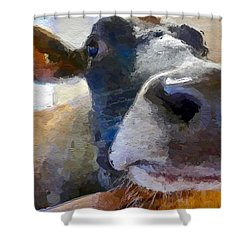 Shower Curtain featuring the painting Cow Face Close Up by Joan Reese